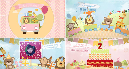 Baby-kids Photo album & Happy Birthday template
