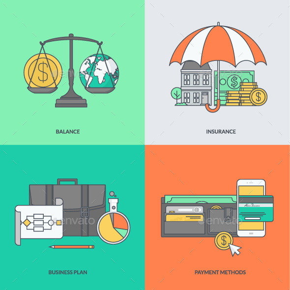 GraphicRiver Set of Color Line Icons for Finance 11392431