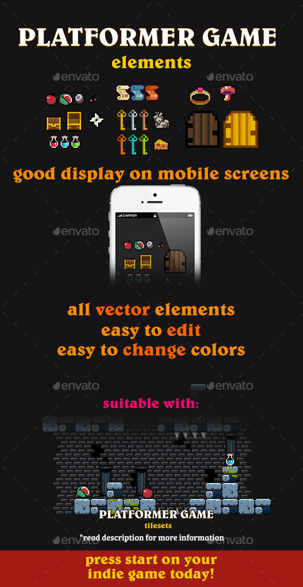 GraphicRiver Vector Pixel Art Dungeon Elements 11392505