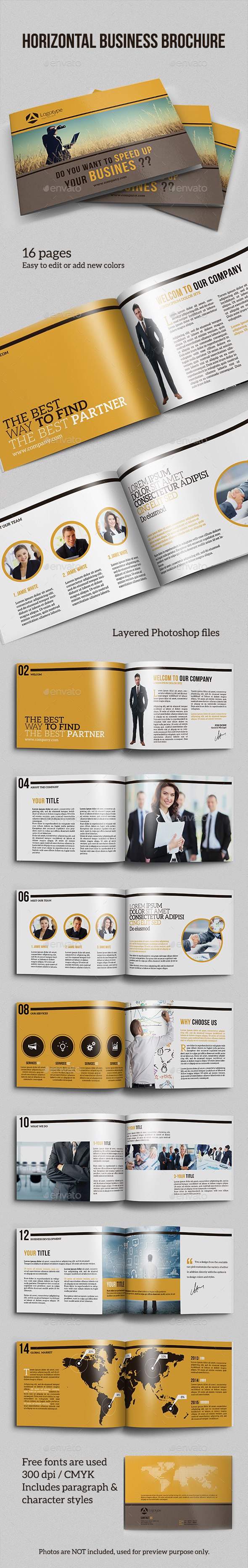 GraphicRiver Horizontal Business Brochure Template 11392705