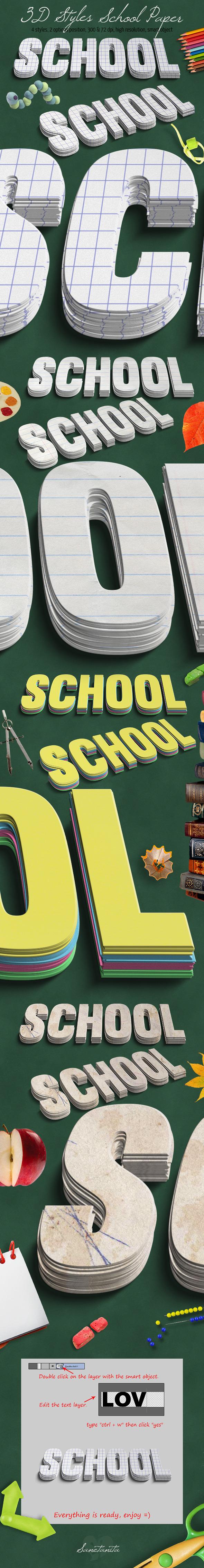 GraphicRiver 3D School Paper Styles 11393001