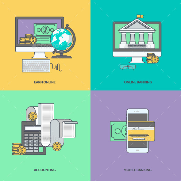 GraphicRiver Set of Color Line Icons for Internet Banking 11393250