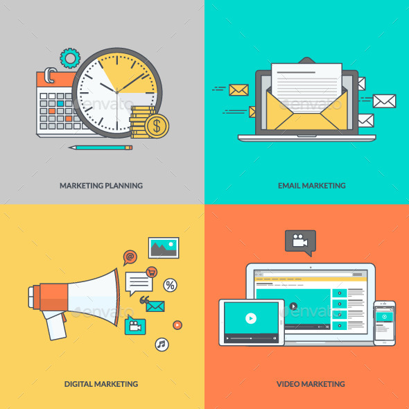 GraphicRiver Set of Color Line Icons for Digital Marketing 11393259