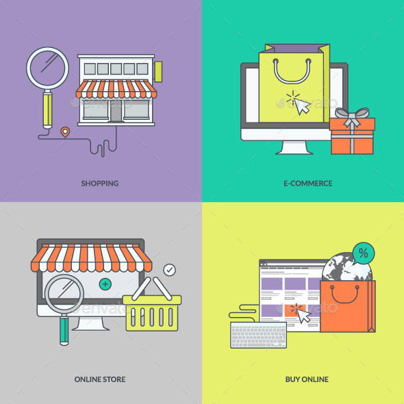 GraphicRiver Set of Color Line Icons for Online Shopping 11393264