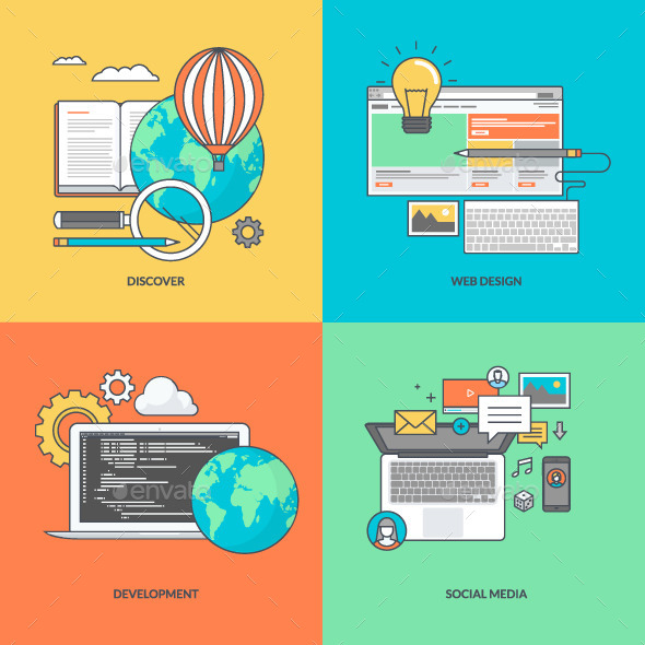 GraphicRiver Set of Color Line Icons for Web Development 11393274