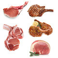 Pork Cooked and Uncooked Isolated on White - PhotoDune Item for Sale