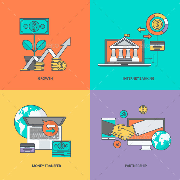 GraphicRiver Set of Color Line Icons for Finance 11393289