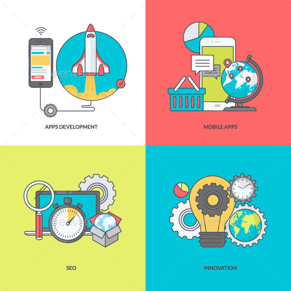 GraphicRiver Line Icons for Mobile Site and App Development 11393327