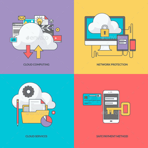 GraphicRiver Set of Color Line Icons for Internet Security 11393329