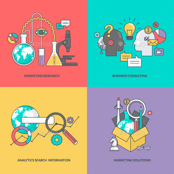 GraphicRiver Set of Color Line Icons for Business 11393335