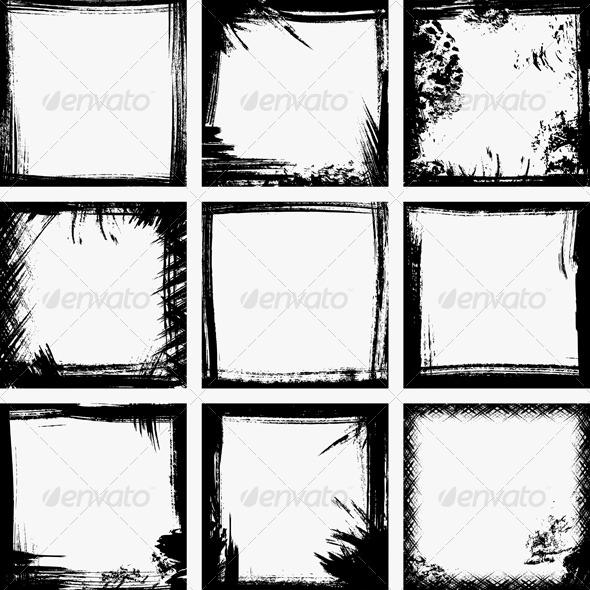 GraphicRiver Grunge frames 140624