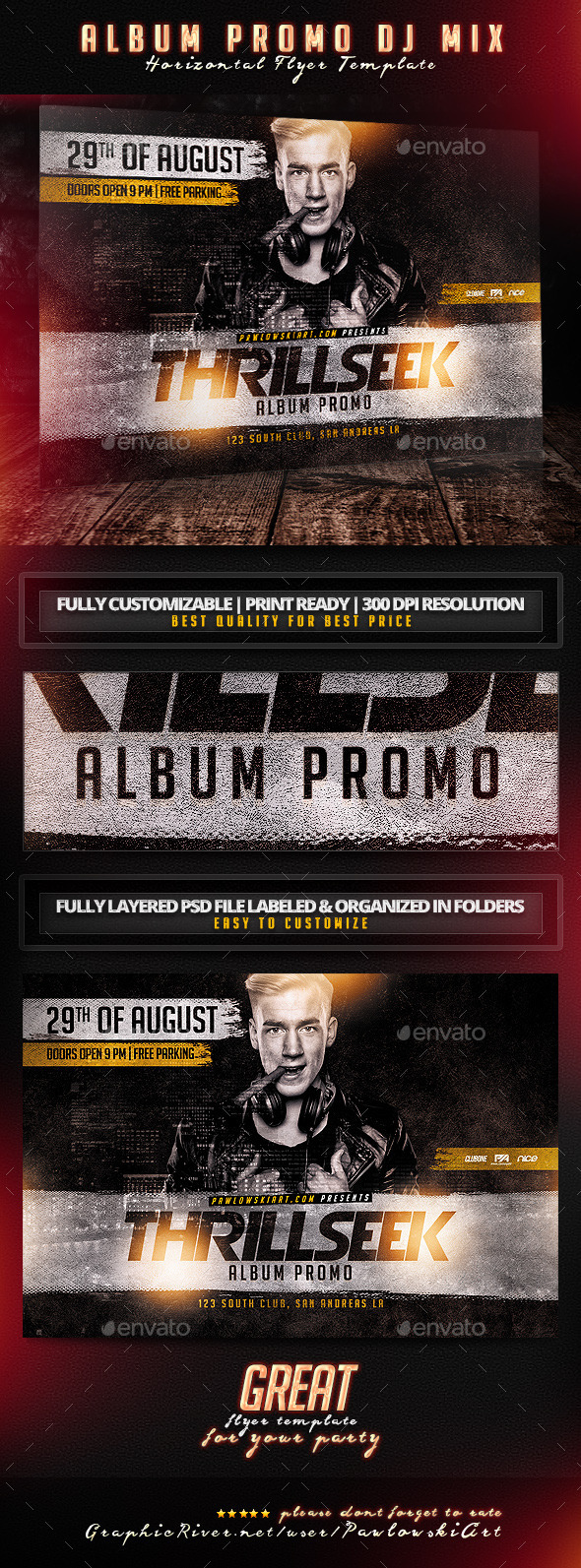 GraphicRiver Album Promo DJ Mix Horizontal Flyer Template 11393388