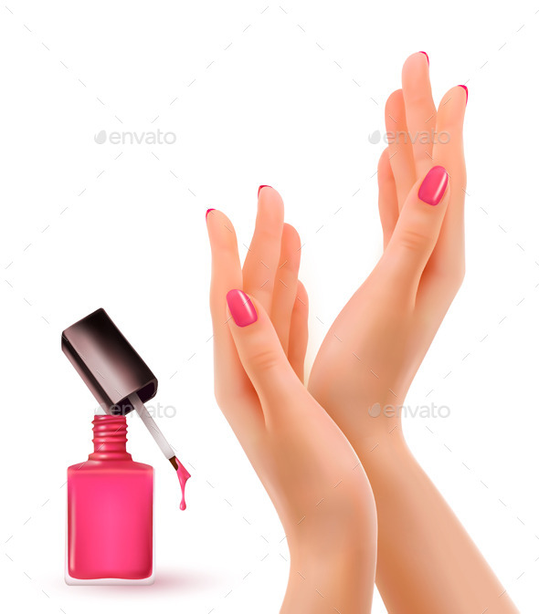 GraphicRiver Hands With Pink Polished Nails Nail Polish Bottle 11393395