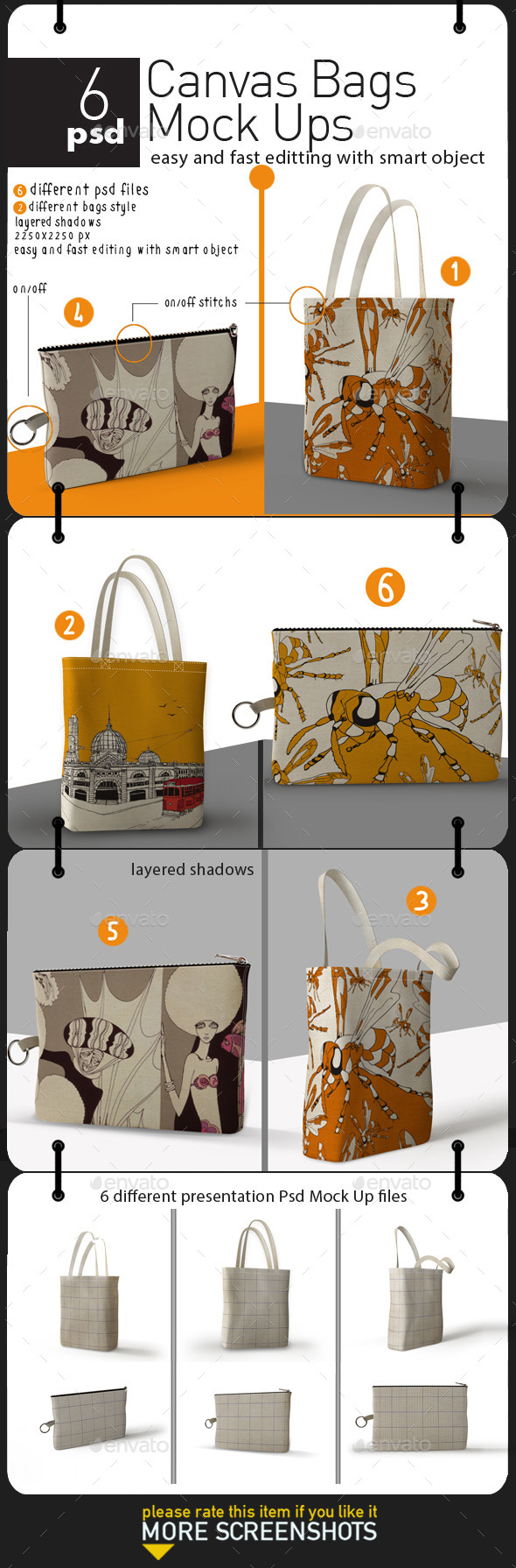 GraphicRiver Canvas Bags Mock Ups 11393701