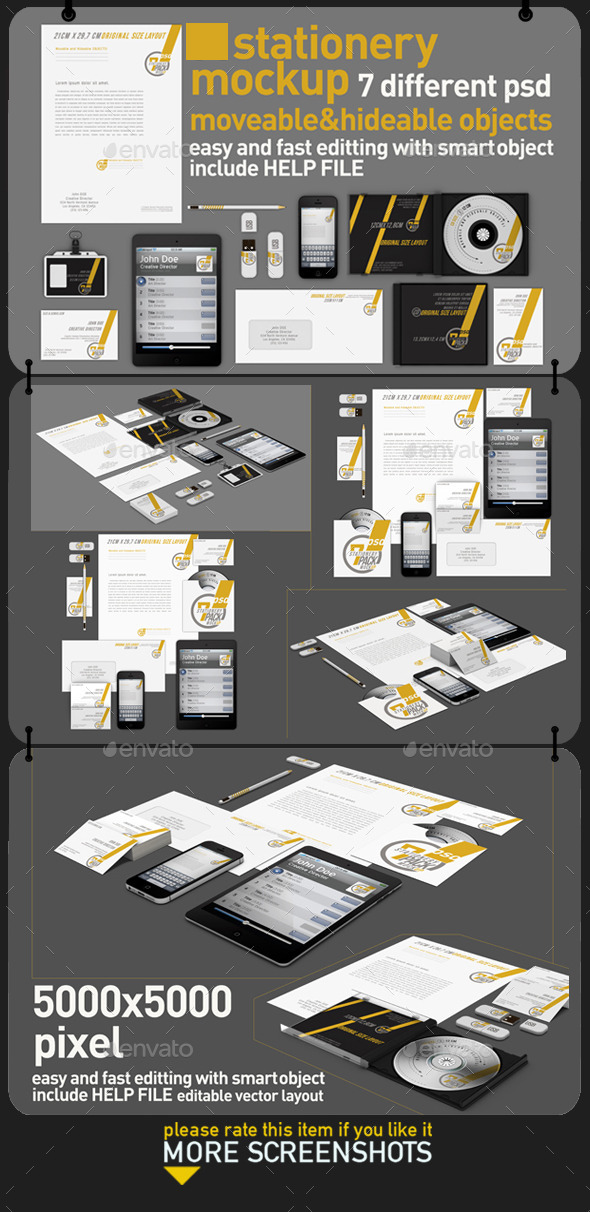 GraphicRiver Stationery Pack Mock Up 11393846