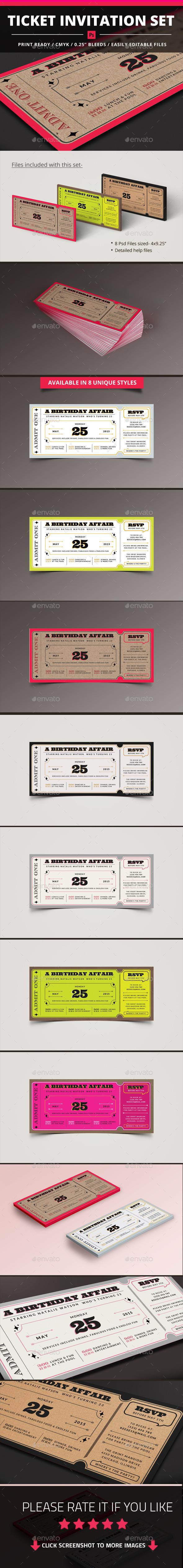 GraphicRiver Ticket Invitation Set 11303106