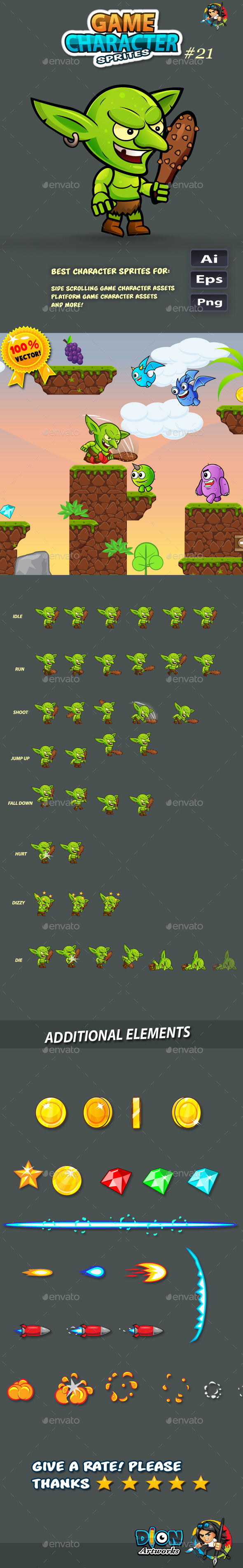 GraphicRiver Goblin 2D Game Character Sprites 21 11394958