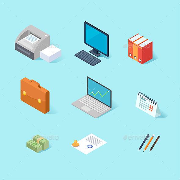 GraphicRiver Office Isometric Icon Set 11312561