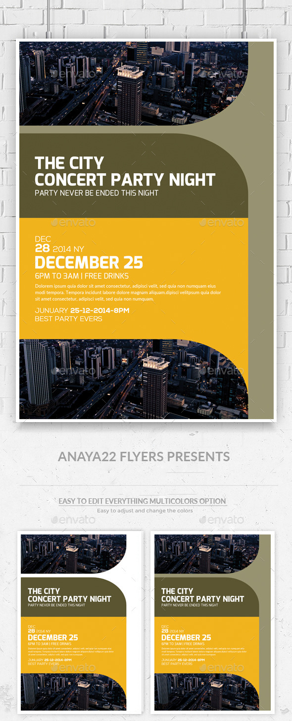 GraphicRiver Futuristic City Concert Flyer Poster 11395208