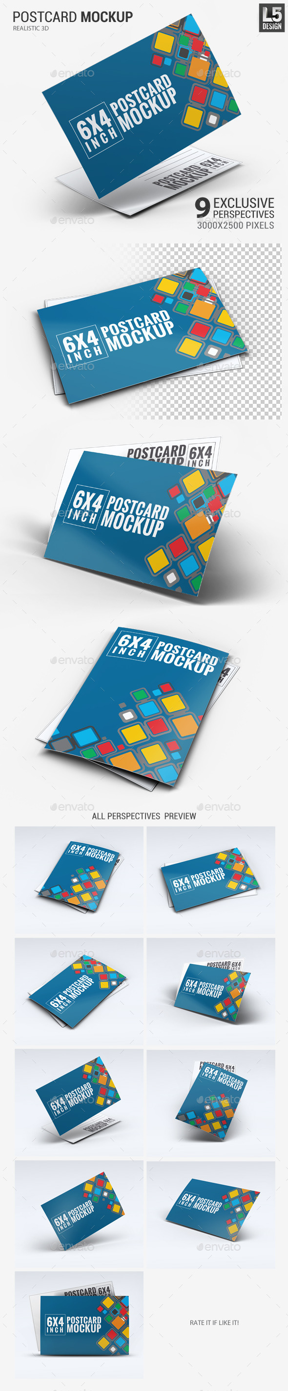 GraphicRiver Realistic 6x4 Postcard Mock-Up 11395257