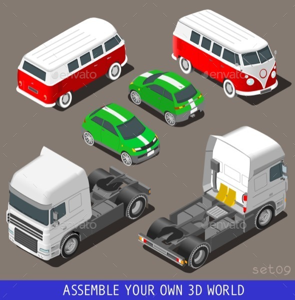 GraphicRiver Isometric Vehicle Set at Car Park 11395310