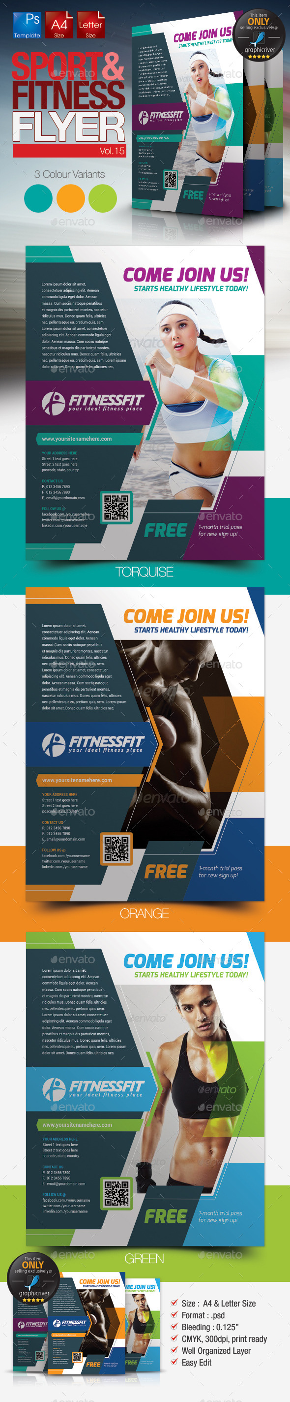 GraphicRiver Fitness & Sport Flyer Template Vol.15 11395311