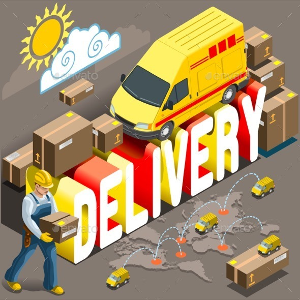 GraphicRiver Isometric Flat Express Delivery Services 3d 11395331