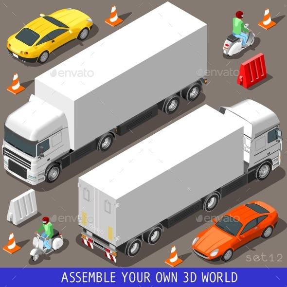 GraphicRiver Isometric Flat 3D Vehicle Vespa Truck Set 11395347