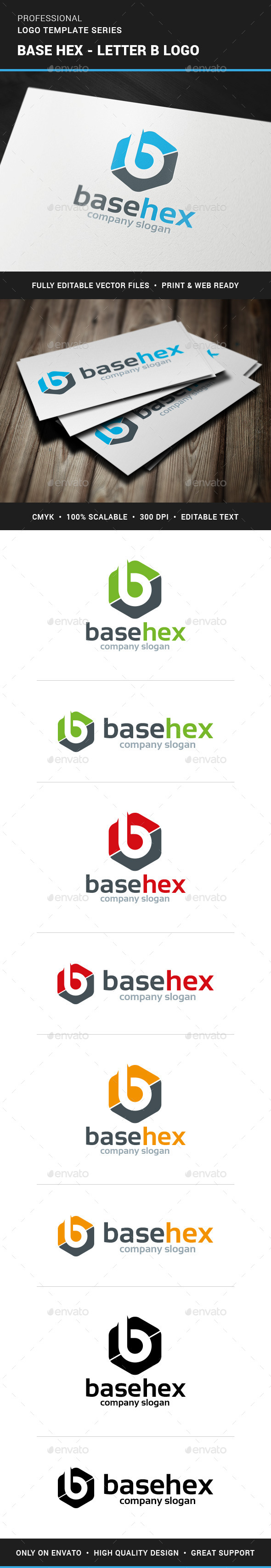 GraphicRiver Base Hex Letter B Logo 11395364