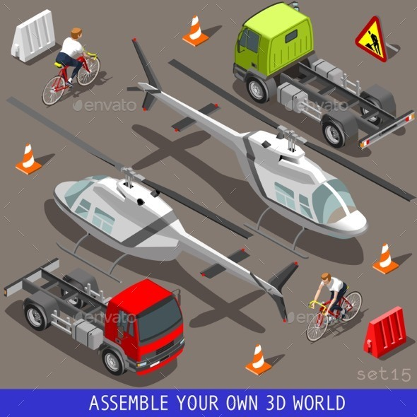GraphicRiver Isometric Flat 3D Vehicle aid Carrier Ride Set 11395389