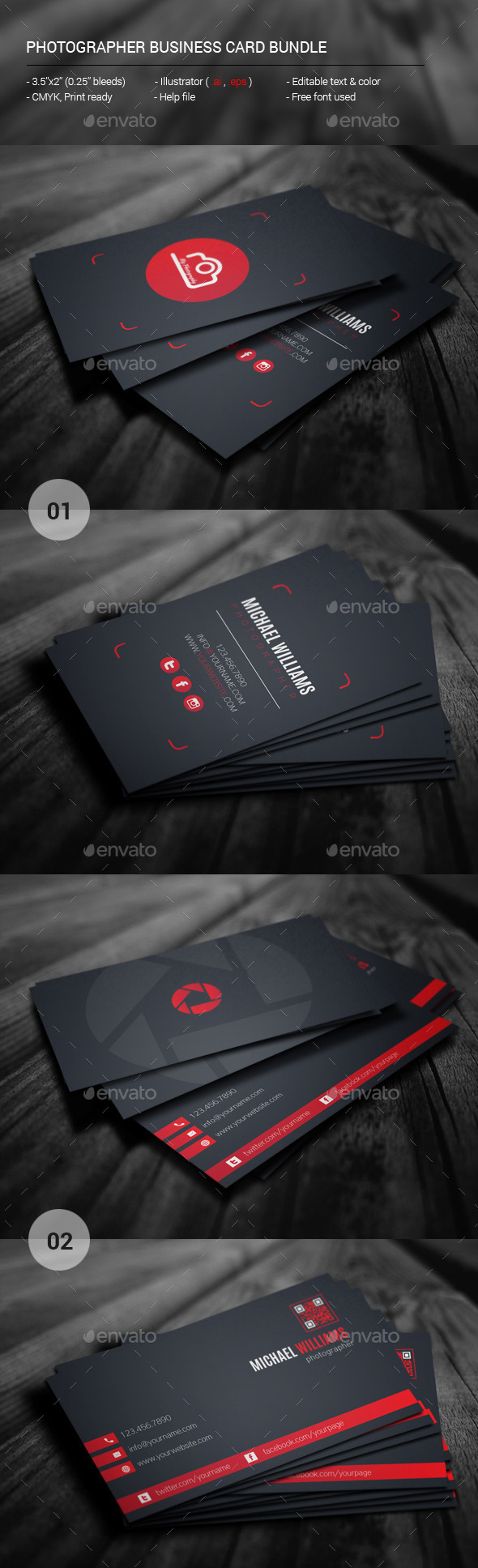 GraphicRiver Photographer Business Card Bundle 11395880