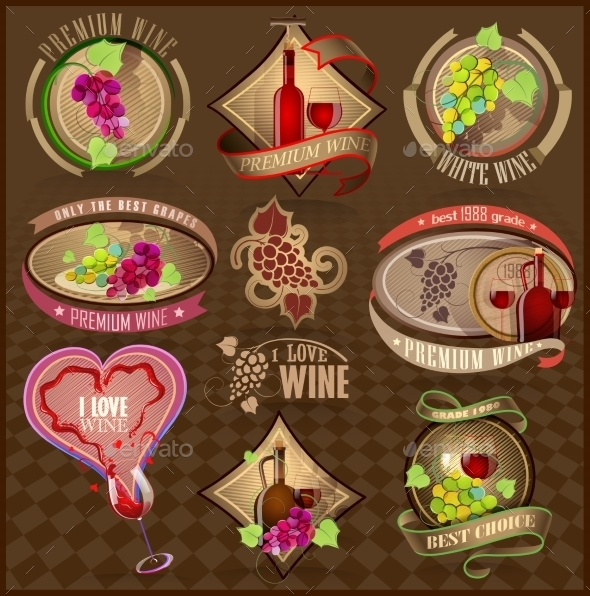 GraphicRiver Set of Retro Labels for Wine 11395941
