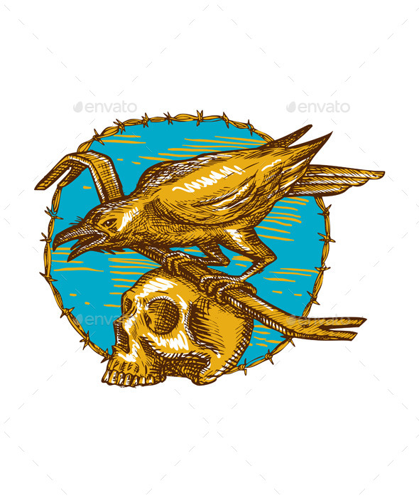 GraphicRiver Crow Perching on Crowbar with Skull 11396058