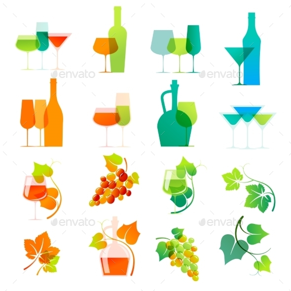 GraphicRiver Colorful Wine Icons 11396071
