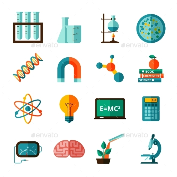 GraphicRiver Science Icons Flat Icons Set 11396124