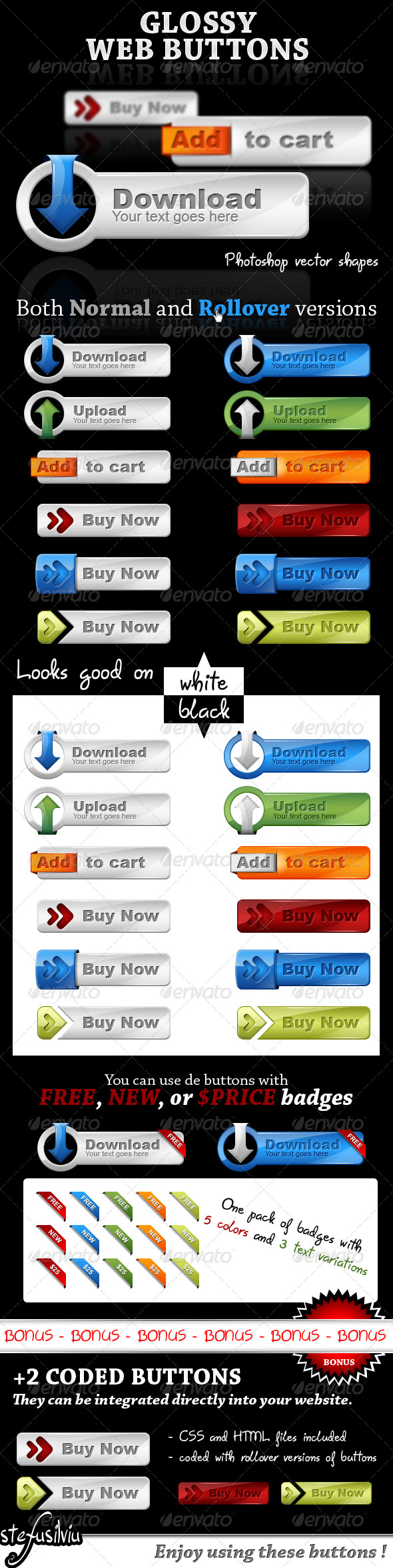 Glossy web buttons - web 2.0 style - Buttons Web Elements
