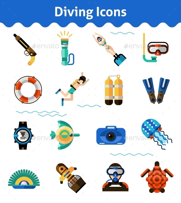 GraphicRiver Diving Icons Set 11396719