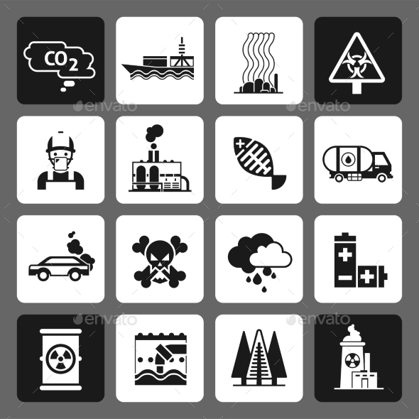 GraphicRiver Pollution Icons Black Set 11397142