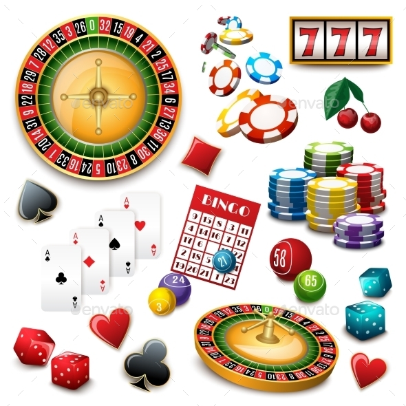 GraphicRiver Casino Symbols Set Composition Poster 11397272