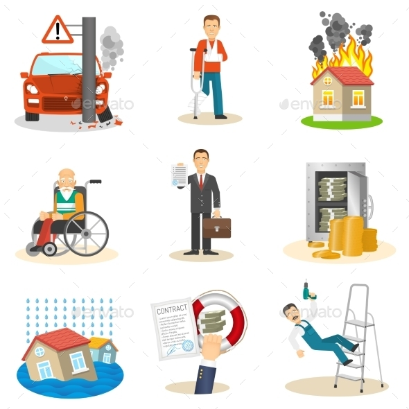 GraphicRiver Insurance and Risk Icons 11397588