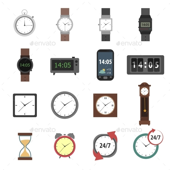 GraphicRiver Time Icons Flat 11398084