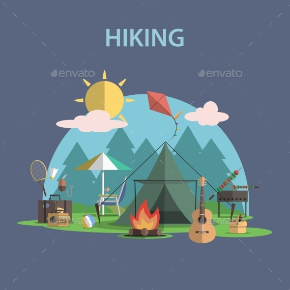 GraphicRiver Hiking Concept Flat 11398098