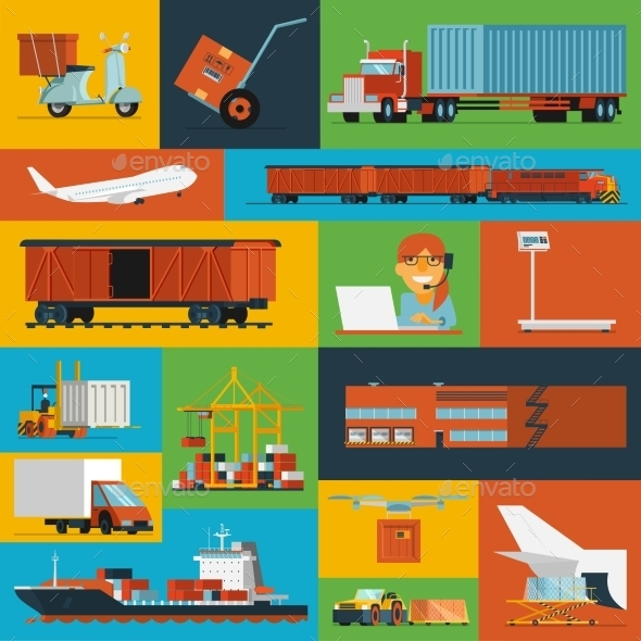 GraphicRiver Logistic Icons Set Flat 11398737