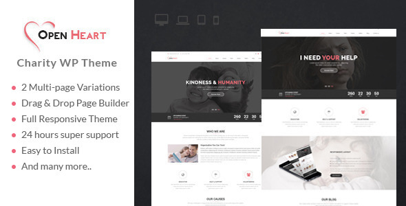 ThemeForest Open Heart MultiPurpose Charity Nonprofit Fundraising Wordpress Theme 10964040