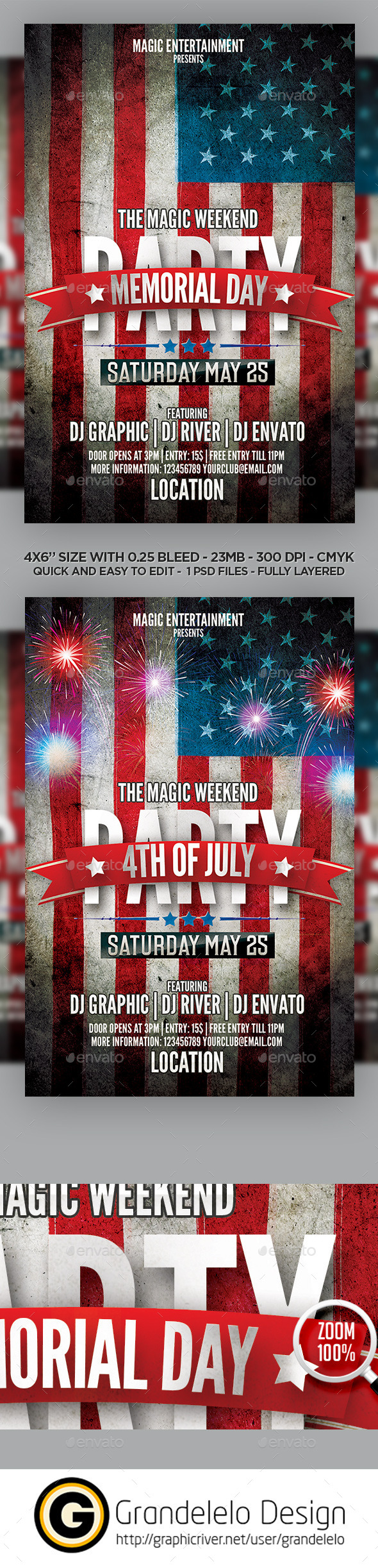 GraphicRiver Memorial Day n 4th July 2015 Flyer Template 11399827