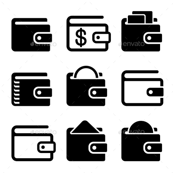 GraphicRiver Wallet Icons Set On White Background Vector 11400078