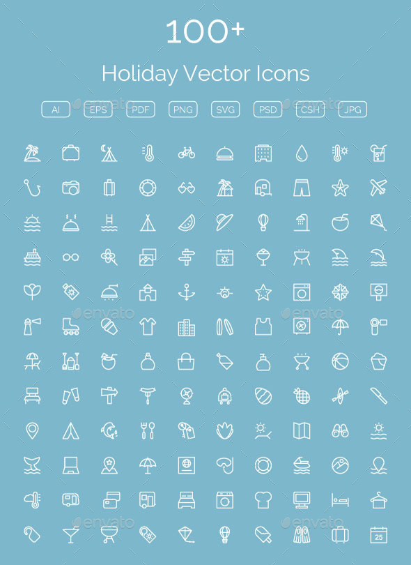 GraphicRiver 100& Holiday Vector Icons 11400471