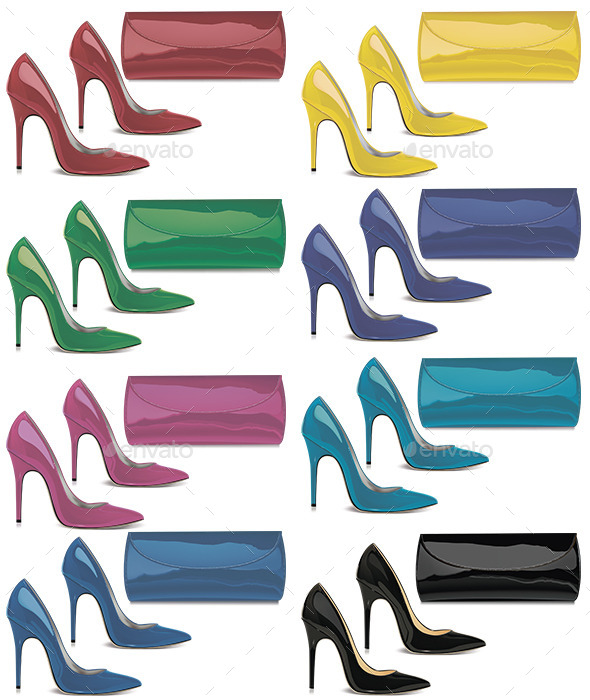 GraphicRiver Pairs of Female Shoes and Mini Bags 11400510