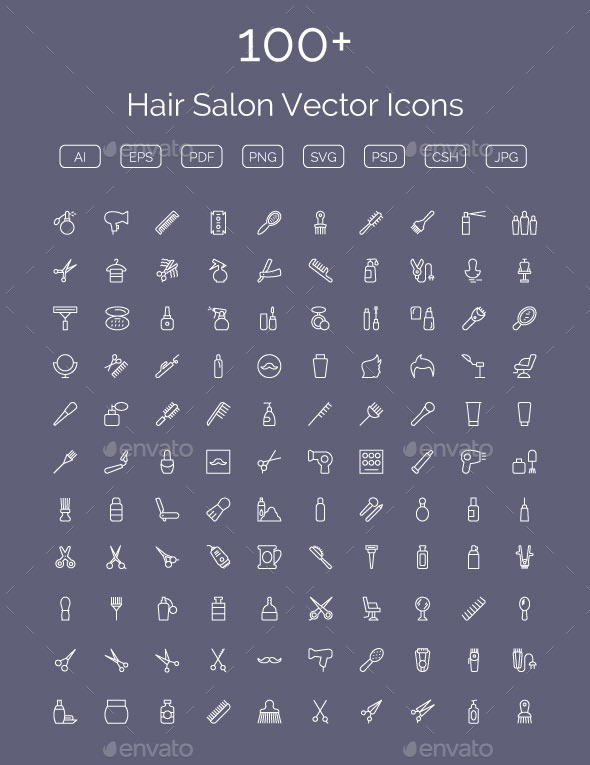 GraphicRiver 100& Hair Salon Vector Icons 11400557