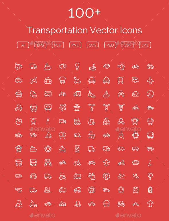 GraphicRiver 100& Transportation Vector Icons 11400567